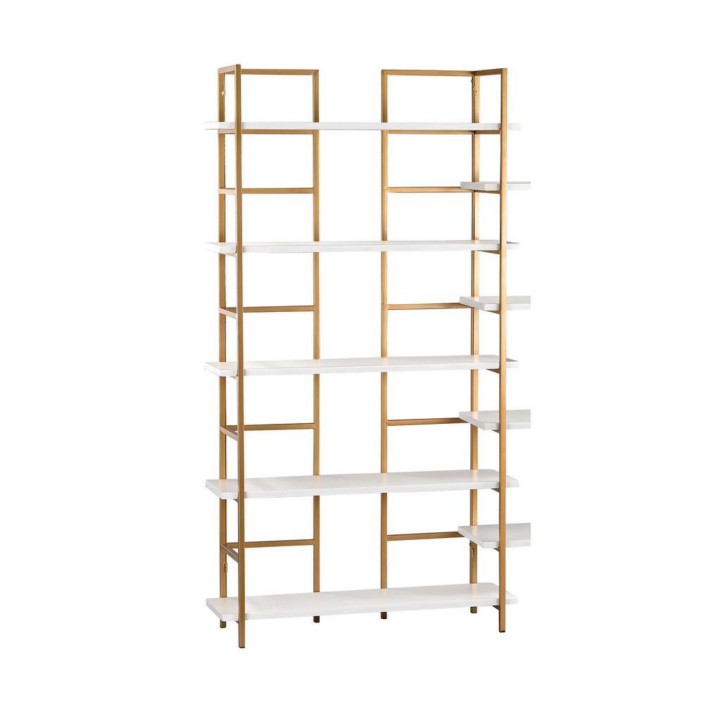 5-Shelf White and Gold Shelving Unit