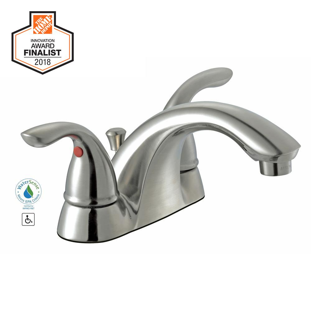 Centerset 2 Handle Low Arc Bathroom Faucet In