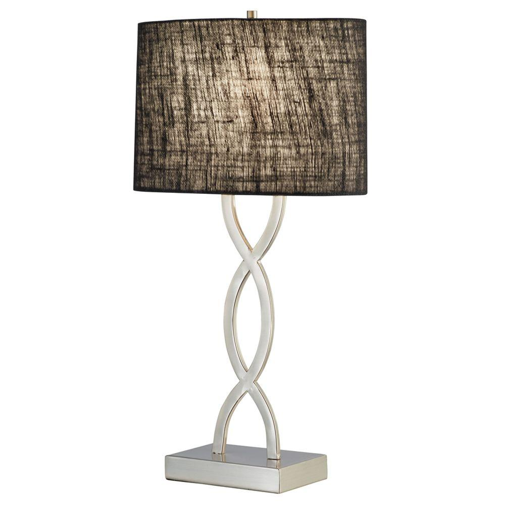 Adesso Juliette 28-1/2 in. Satin Steel Table Lamp with Black Shade