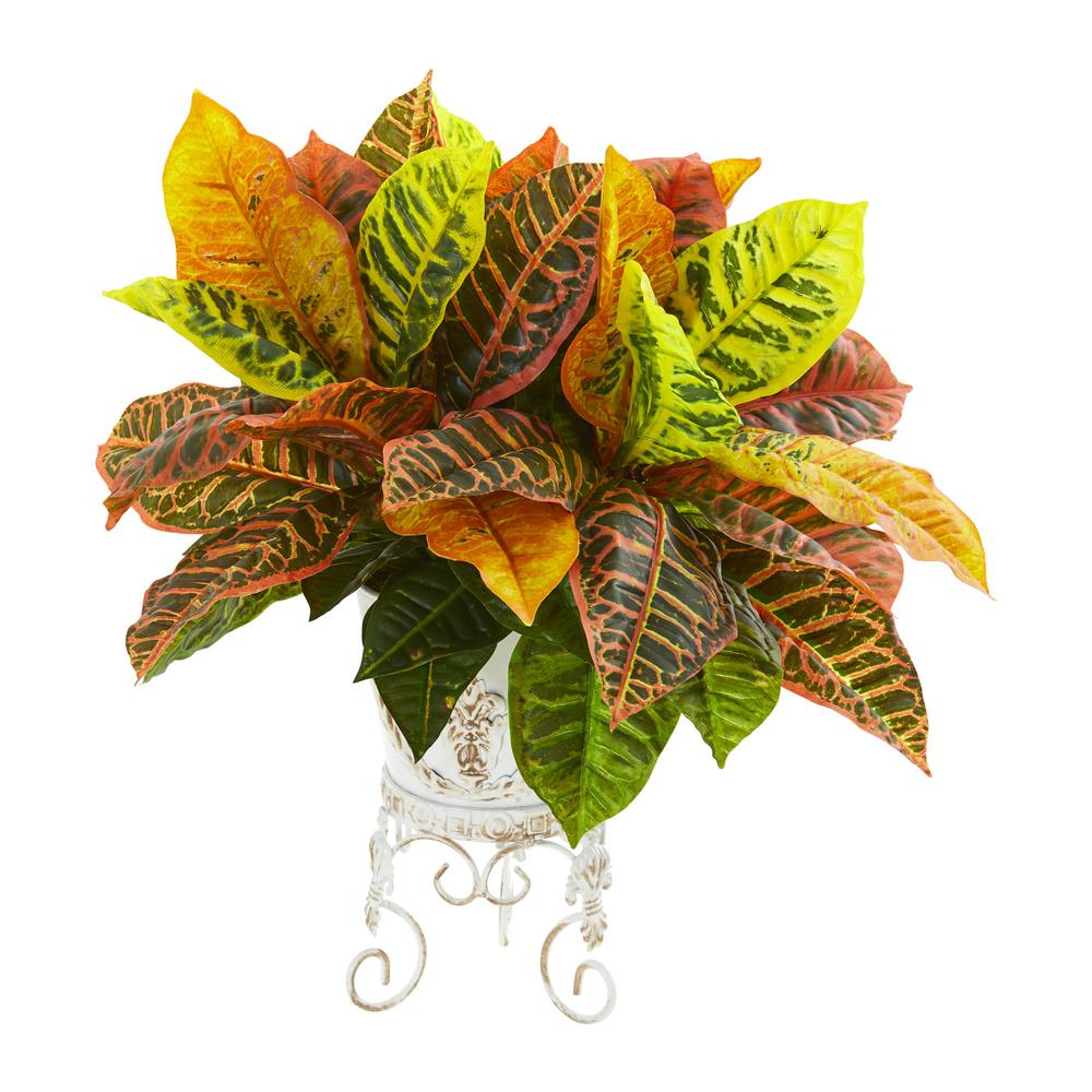 Indoor Garden Croton Artificial Plant in White Planter