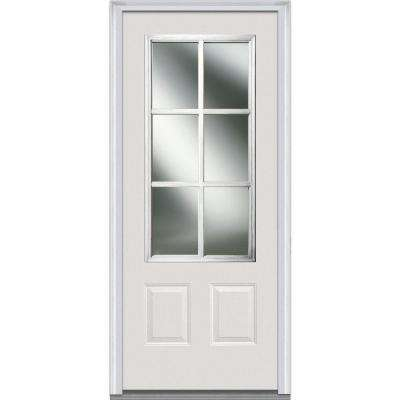 36 in. x 80 in. Simulated Divided Lites Right-Hand 3/4-Lite Clear 2-Panel Primed Fiberglass Smooth Prehung Front Door