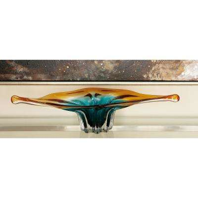 27 in. x 5 in. Brown and Turquoise Floral-Style Glass Bowl