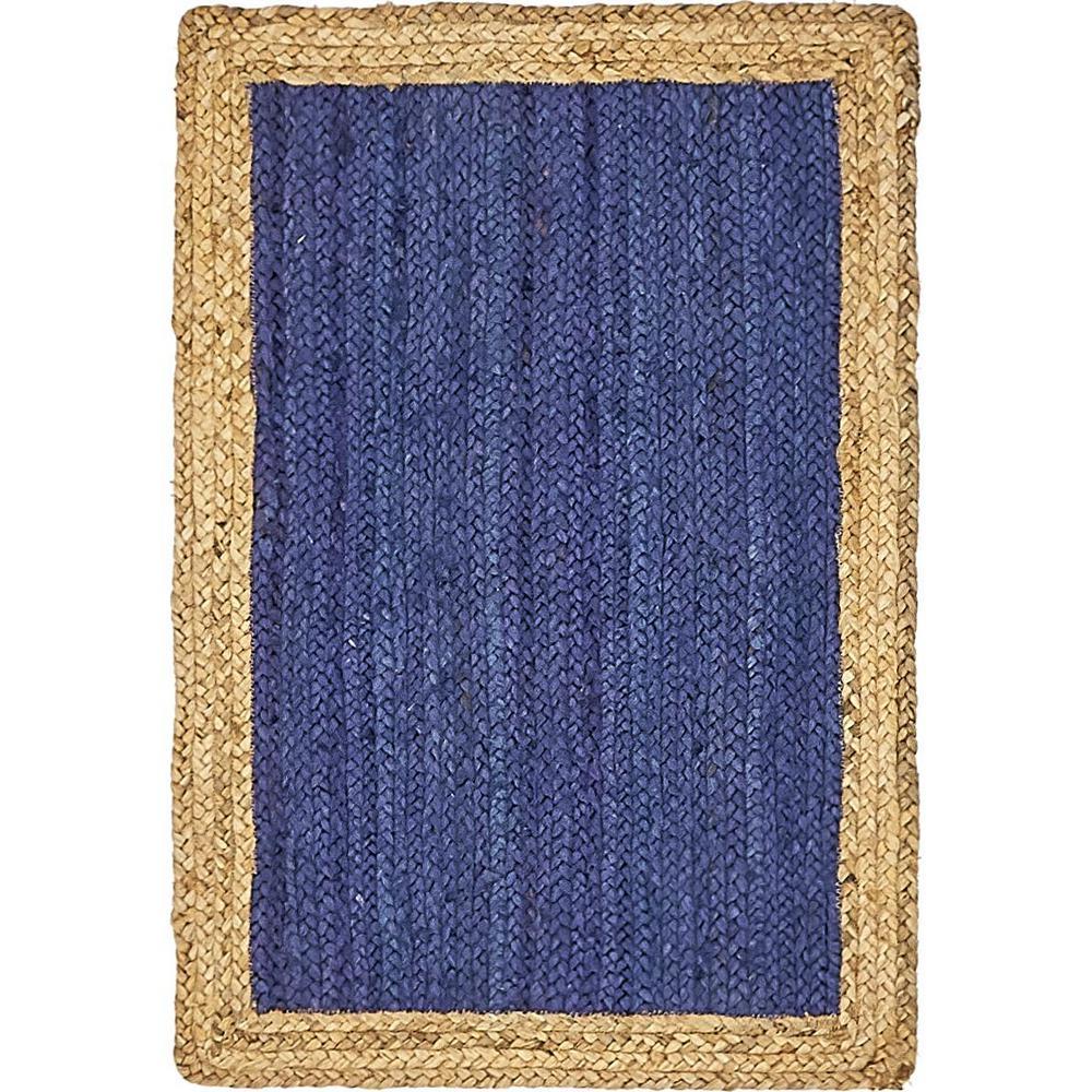 Unique Loom Braided Jute Goa Navy Blue