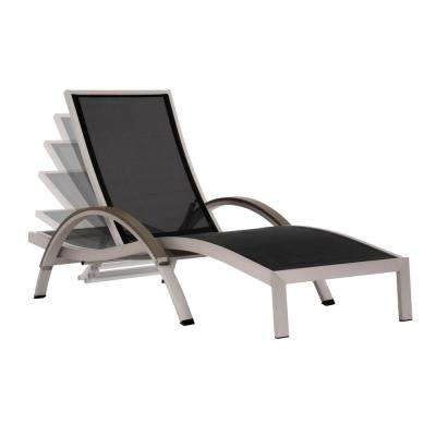 Aluminum Outdoor Chaise Lounge in Black Sling