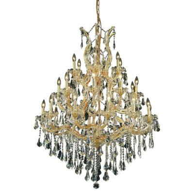 28-Light Gold Chandelier with Clear Crystal