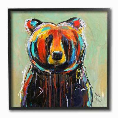 "12 in. x 12 in. ""Abstract Colorful Painted Black Bear"" by Karrie Evenson Framed Wall Art"