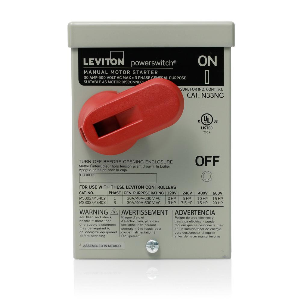 Leviton Type 3r Enclosure For Use With 30 Amp Or 40 Amp Motor Controller Switches Steel Gray