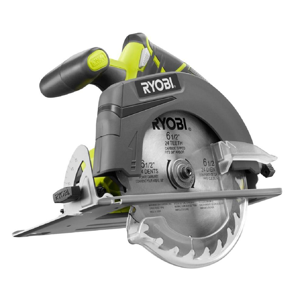 Ryobi 18 volt one 6 12 in cordless circular saw tool only cordless circular saw tool only p507 the home depot greentooth Image collections