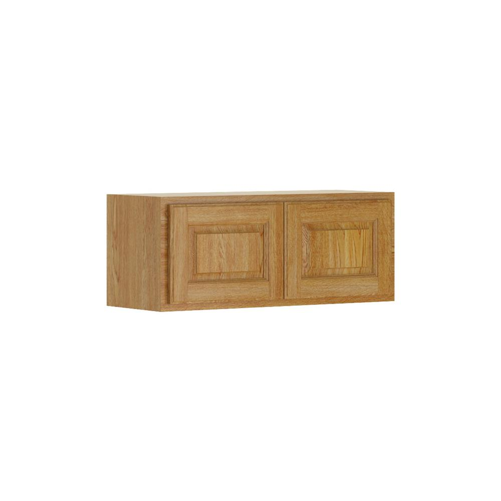 Hampton Bay Madison Assembled 30x12x12 In Wall Bridge Cabinet In Medium Oak W3012 Mmo The