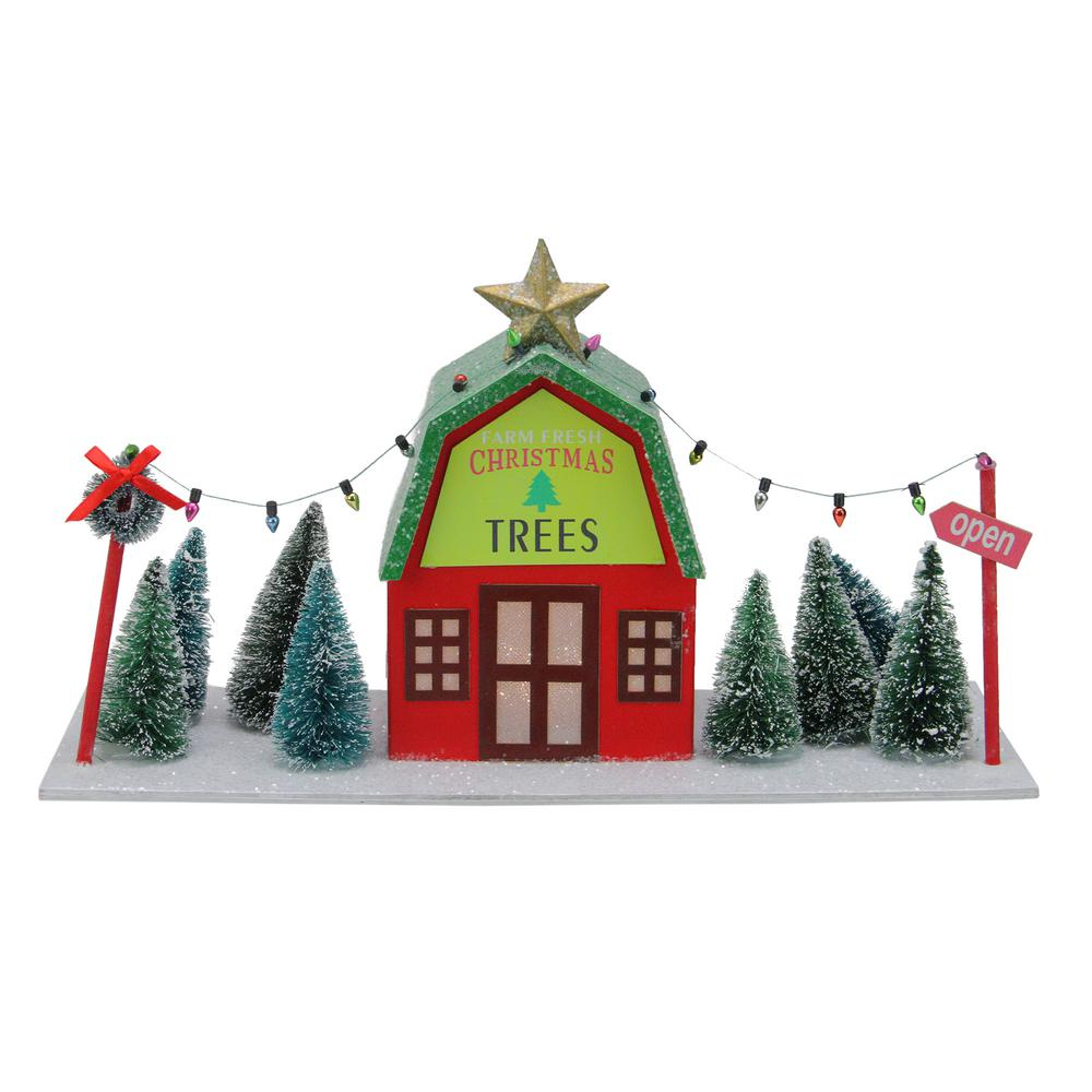 Pre-lit Red and Yellow Christmas Tree Store with Pine Trees and Warm White Lights