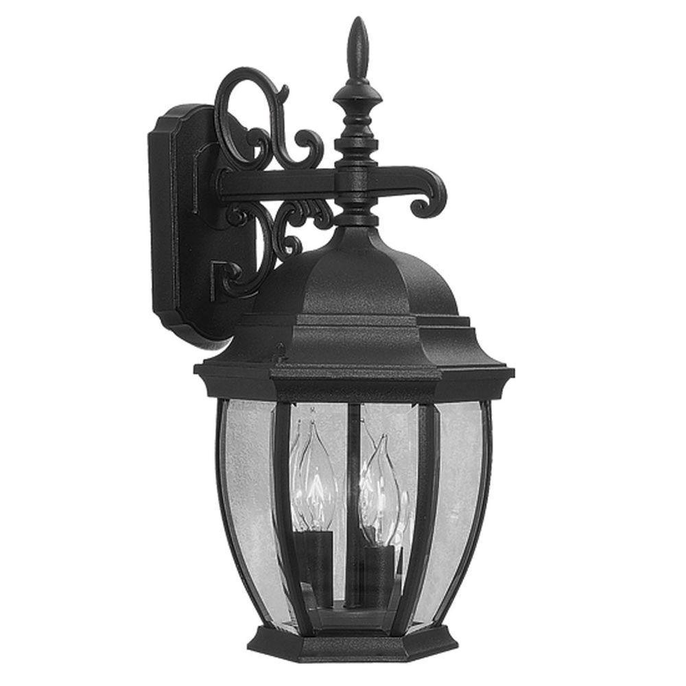Livex Lighting Providence Wall-Mount 3-Light Outdoor Black Incandescent Lantern