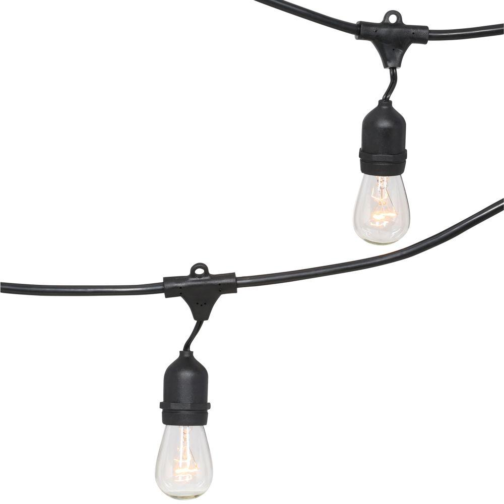 Bulbrite 15-Light Outdoor Black String Light Set