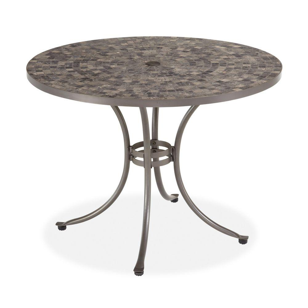 Home Styles Glen Rock Marble 41 in. Round Patio Dining Table