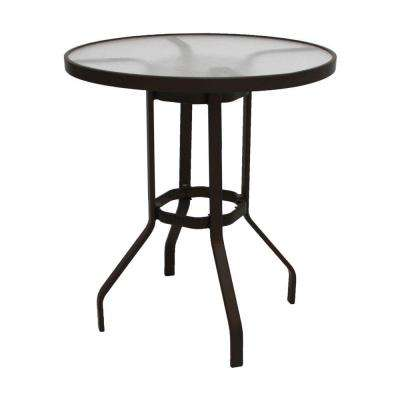 Marco Island 36 in. Dark Cafe Brown Acrylic Top Commercial Bar Height Metal Outdoor Patio Dining Table