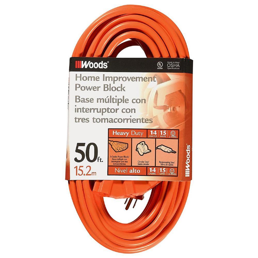 50 ft. 14/3 SJTW Multi-Outlet (3) Outdoor Heavy-Duty Extension Cord, Orange