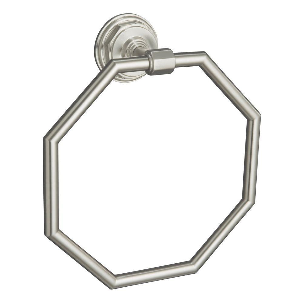 KOHLER Pinstripe Towel Ring in Vibrant Brushed Nickel