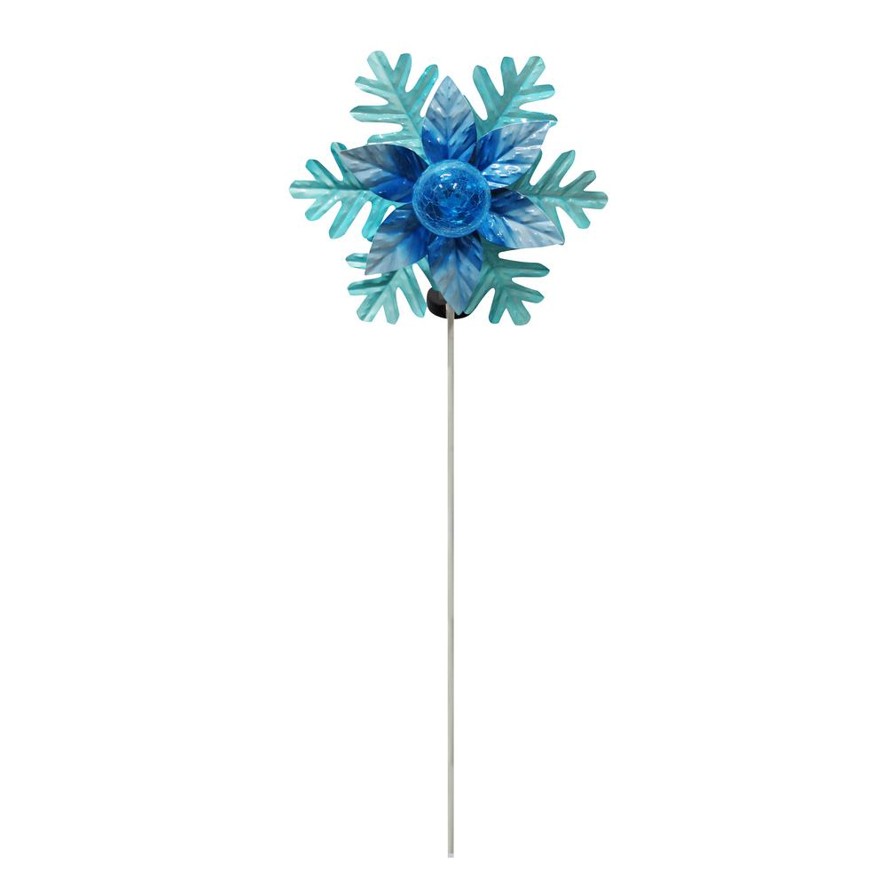 Alpine Solar Rotating Christmas Flower With LED Glass Ball Stake