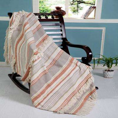 Stripes and Lines Contemporary Rust / Grey Cotton Blend Throw