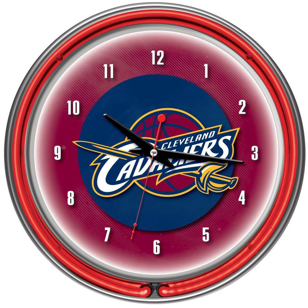 Trademark Global 14 in. Cleveland Cavaliers NBA Chrome Double Ring Neon Wall Clock