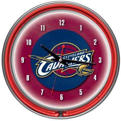 14 in. Cleveland Cavaliers NBA Chrome Double Ring Neon Wall Clock