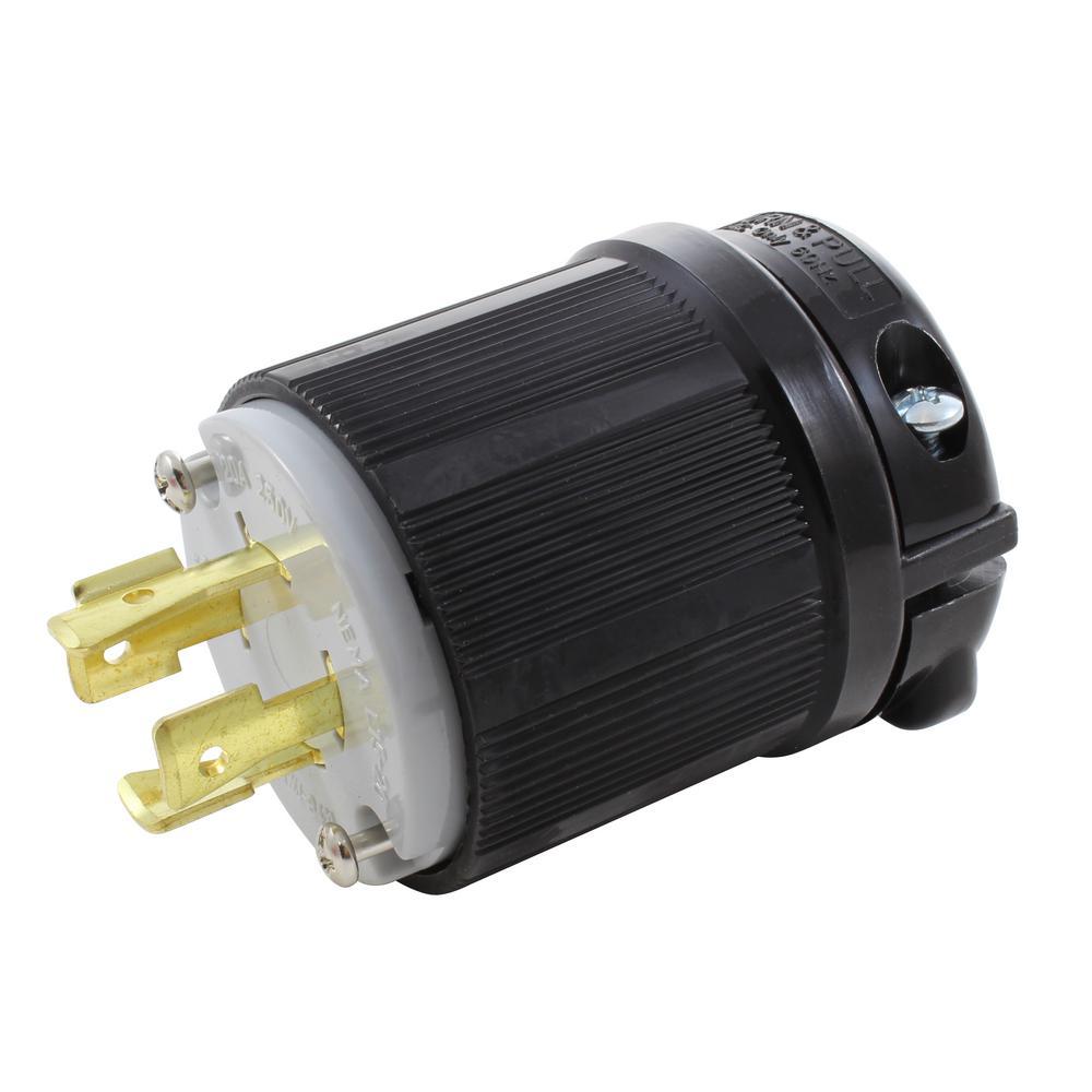 AC WORKS NEMA 3-Phase 20 Amp 250-Volt 4-Prong Locking Male ...