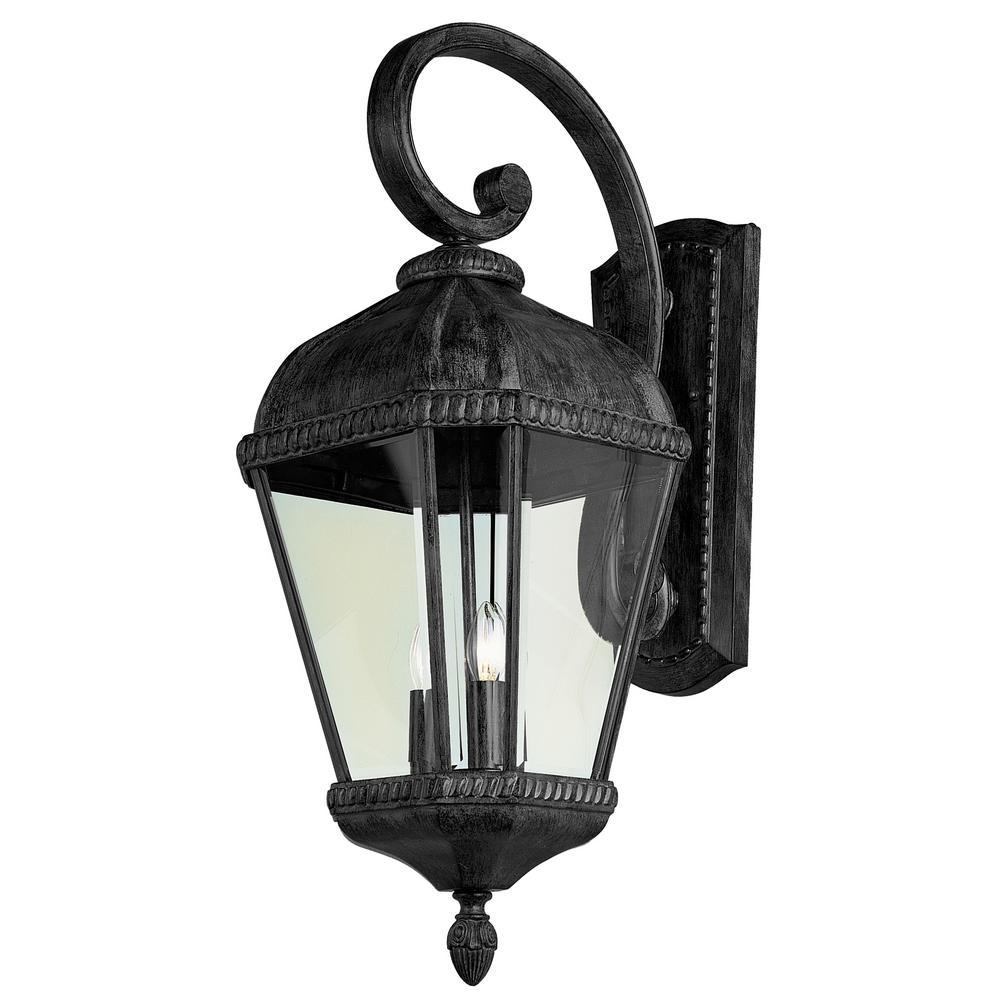 Bel Air Lighting Covington 3 Light Black Outdoor Wall Lantern Sconce