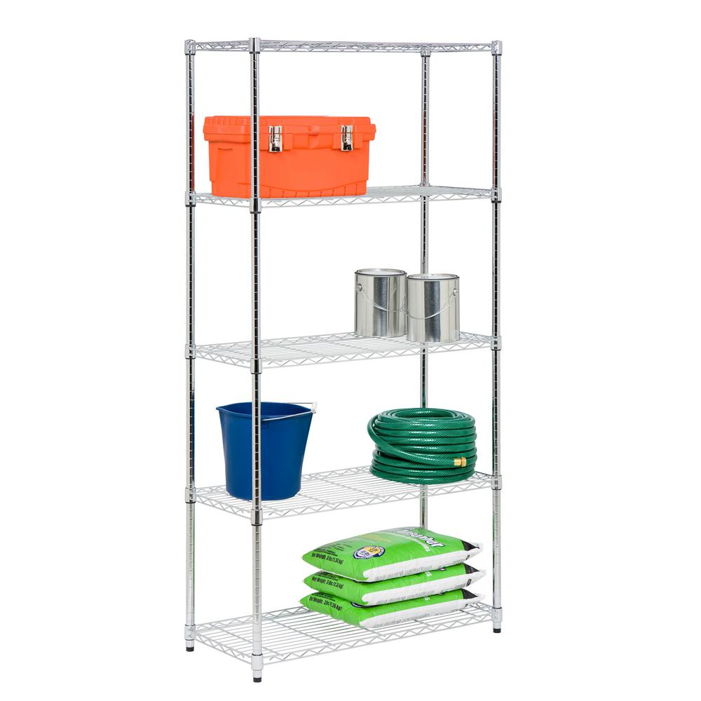 18 in. x 36 in. x 72 in. 5-Tier Chrome Storage