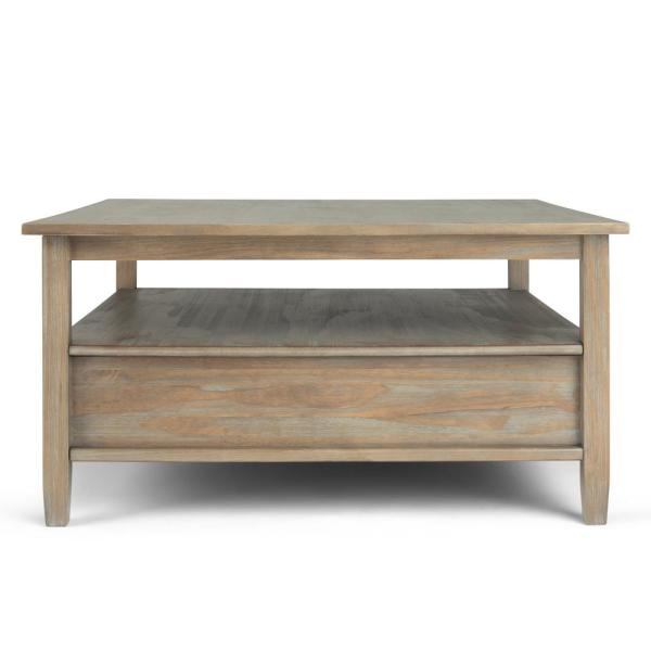 Brooklyn Max Lexington 36 In Distressed Gray Medium Square Wood Coffee Table With Drawers Bmsh012 Gr The Home Depot