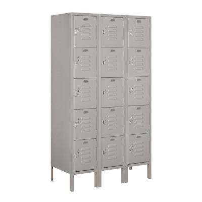 65000 Series 36 in. W x 66 in. H x 15 in. D 5-Tier Box Style Metal Locker Assembled in Gray