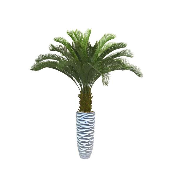 70 in. Palm Tree Artificial Faux Dcor in Resin Planter