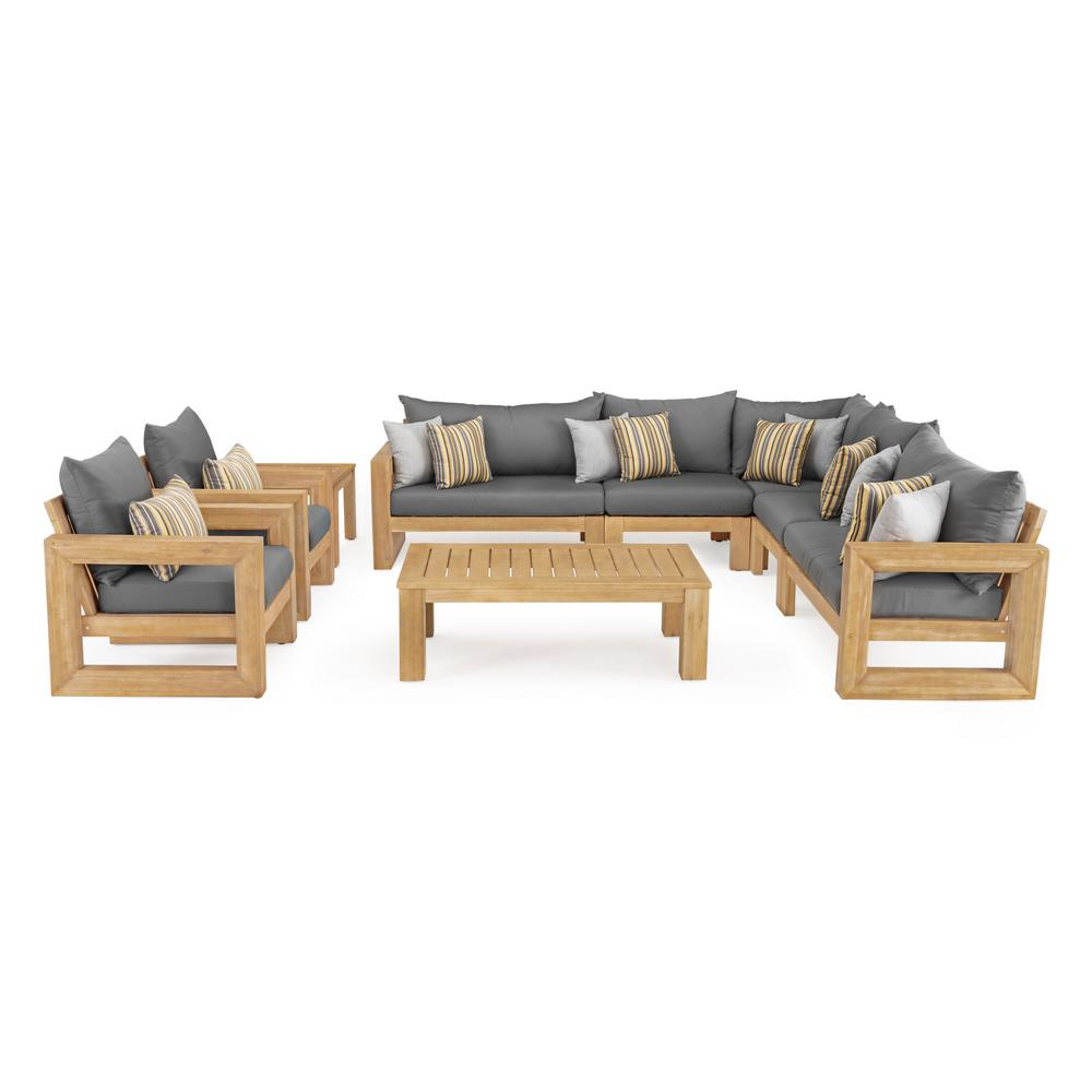 RST Brands Benson 9-Piece Wood Patio Sectional Seating Set with Sunbrella Charcoal Grey Cushions