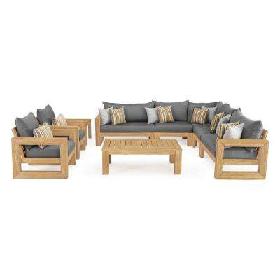 Benson 9-Piece Wood Patio Sectional Seating Set with Sunbrella Charcoal Grey Cushions