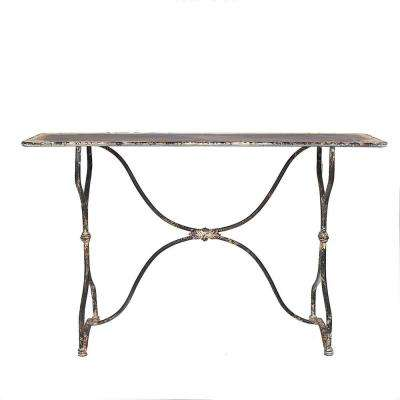 Distressed White and Black Metal Table