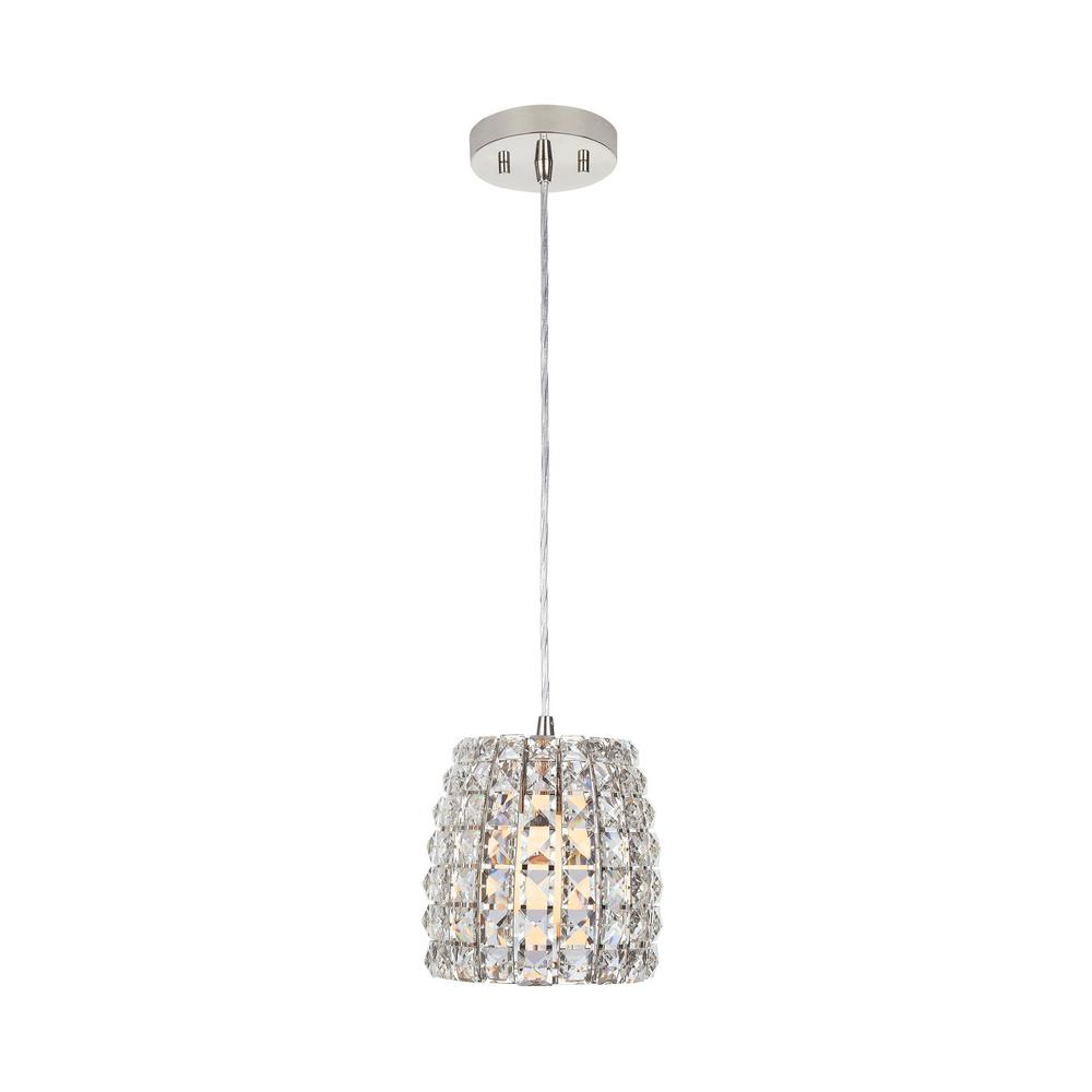 Home Decorators Collection Beatrice1-Light 7 in. Polished Nickel Crystal Mini Pendant