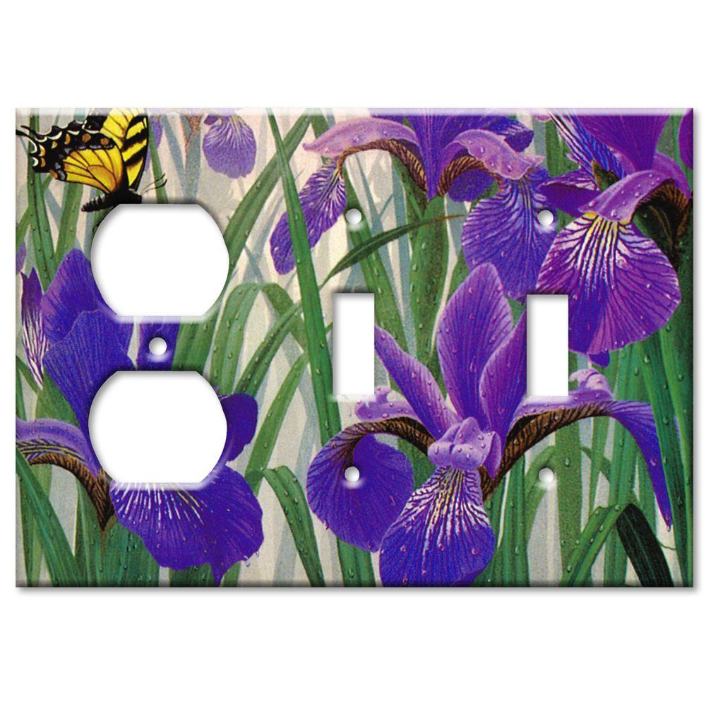 Art Plates Butterfly in Irises Outlet/2 Switch Combo Wall Plate