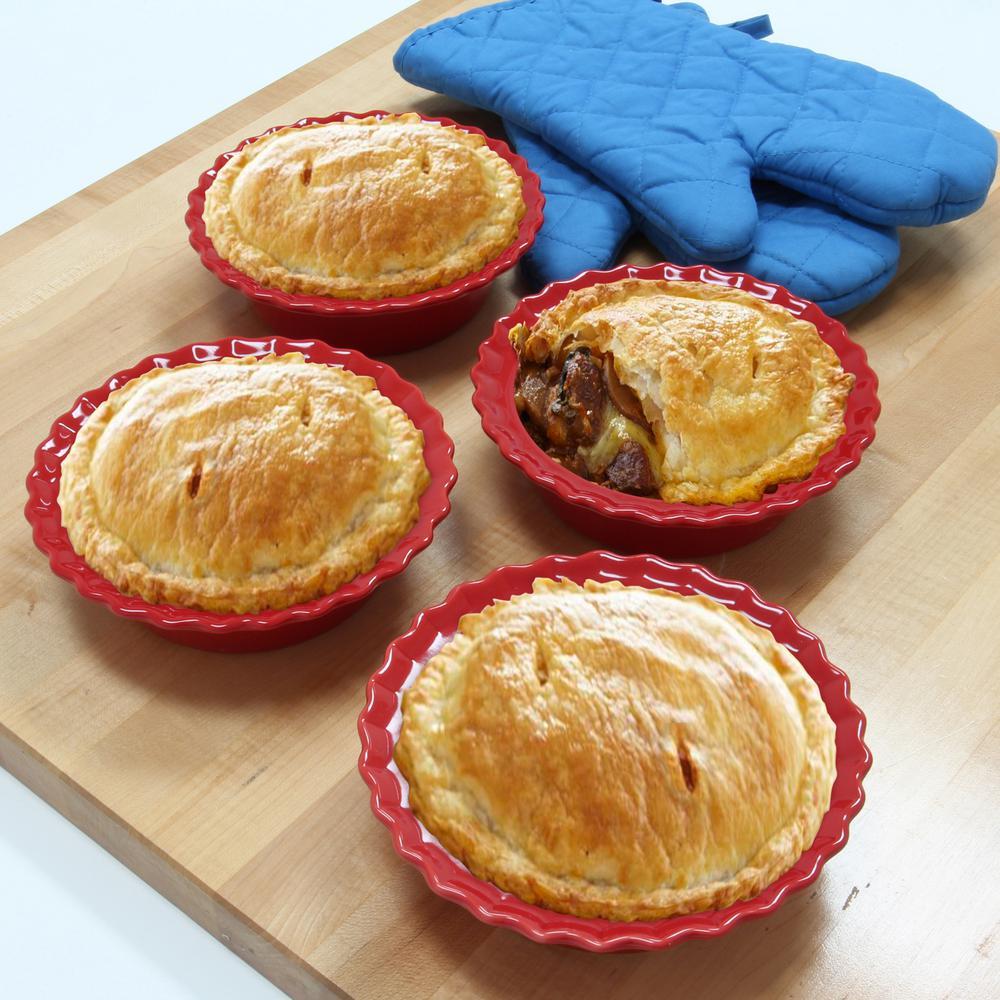 +4. Chantal ... & Chantal Classic Inidual 5 in. True Red Round Ceramic Pie Dish (4 ...