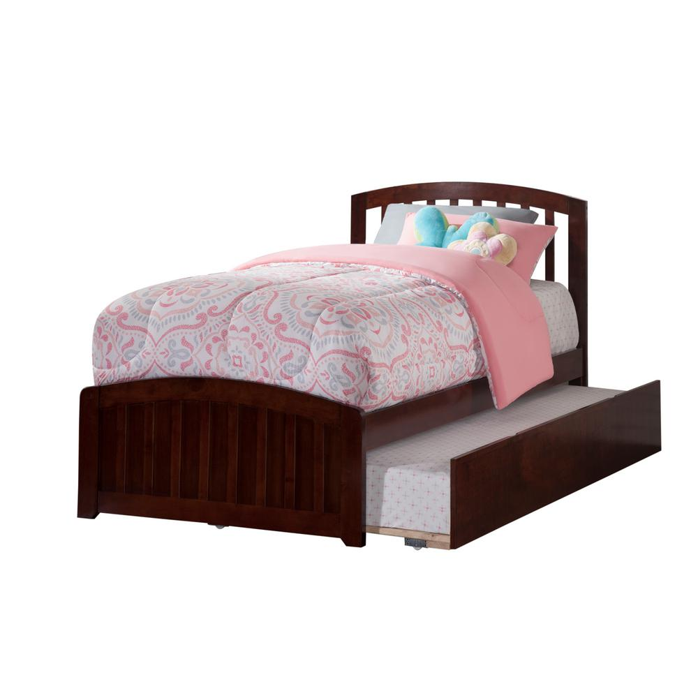 6d86de836864e Richmond Walnut Twin Platform Bed with Matching Foot Board with Twin Size  Urban Trundle Bed