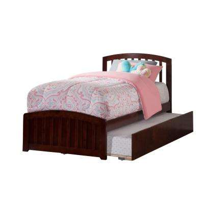 Richmond Walnut Twin Platform Bed with Matching Foot Board with Twin Size Urban Trundle Bed