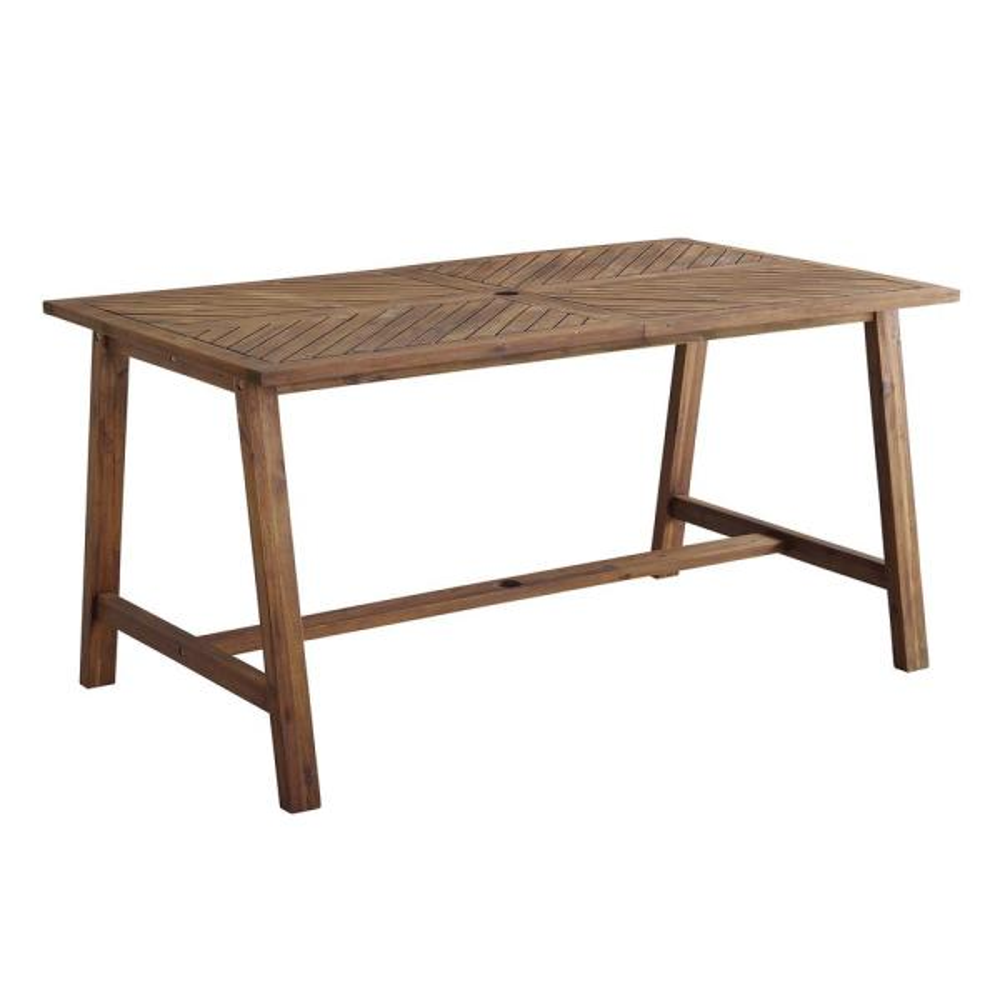 60 in. Dark Brown Acacia Wood Outdoor Patio Chevron Dining Table