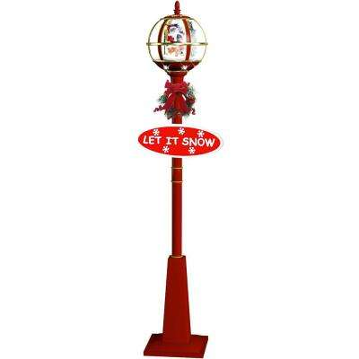 69 in. Musical Globe Lamp Post in Red Featuring Santa Scene and Snow Function