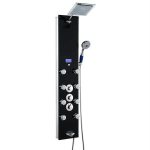AKDY 52 inch 8-Jet Shower Panel System in Black Tempered Glass with Rainfall Shower Head Hand Shower by AKDY