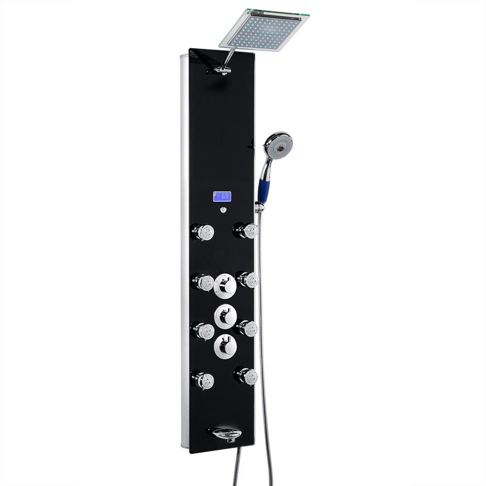 AKDY 52 in. 8-Jet Shower Panel System in Black Tempered Glass with Rainfall Shower Head Hand Shower (Valve Included)