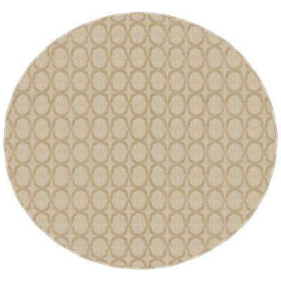 Sparta Tan 7 ft. 6 in. x 7 ft. 6 in. Round Trellis Area Rug