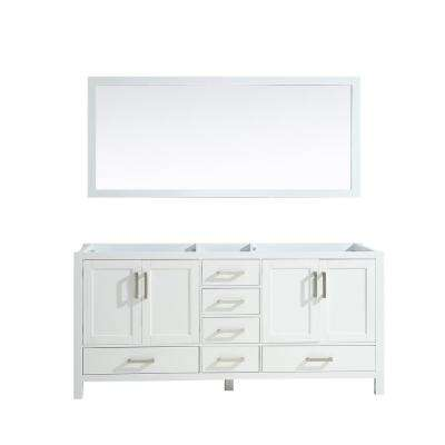 Jacques 72 in. Double Bath Vanity Cabinet Only with Mirror in White