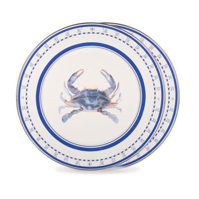 12.5 in. Blue Crab Enamelware Round Charger Plate Set of 2