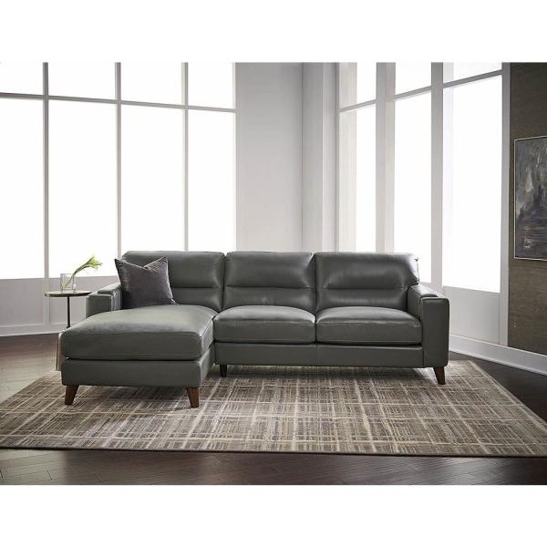 Hydeline Elm 2-Piece Gray Leather 4-Seater L-Shaped Left-Facing Chaise Sectional Sofa With Removable Cushions-ELM-SECT2-LHFSCH-GRY - The Home Depot