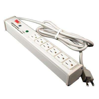 Perma Power 6-Outlet 15-Amp Computer Grade Surge Strip with Lighted On/Off Switch, 6 ft. Cord