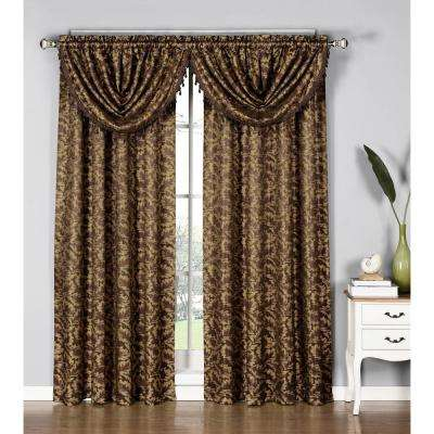 Dawson Shimmering Leaf 19 in. W x 44 in. L Waterfall Window Valance in Chocolate