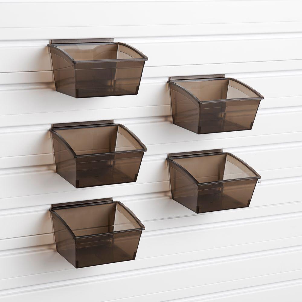 Flow Wall Small Black Plastic Storage Bins 5 Pack