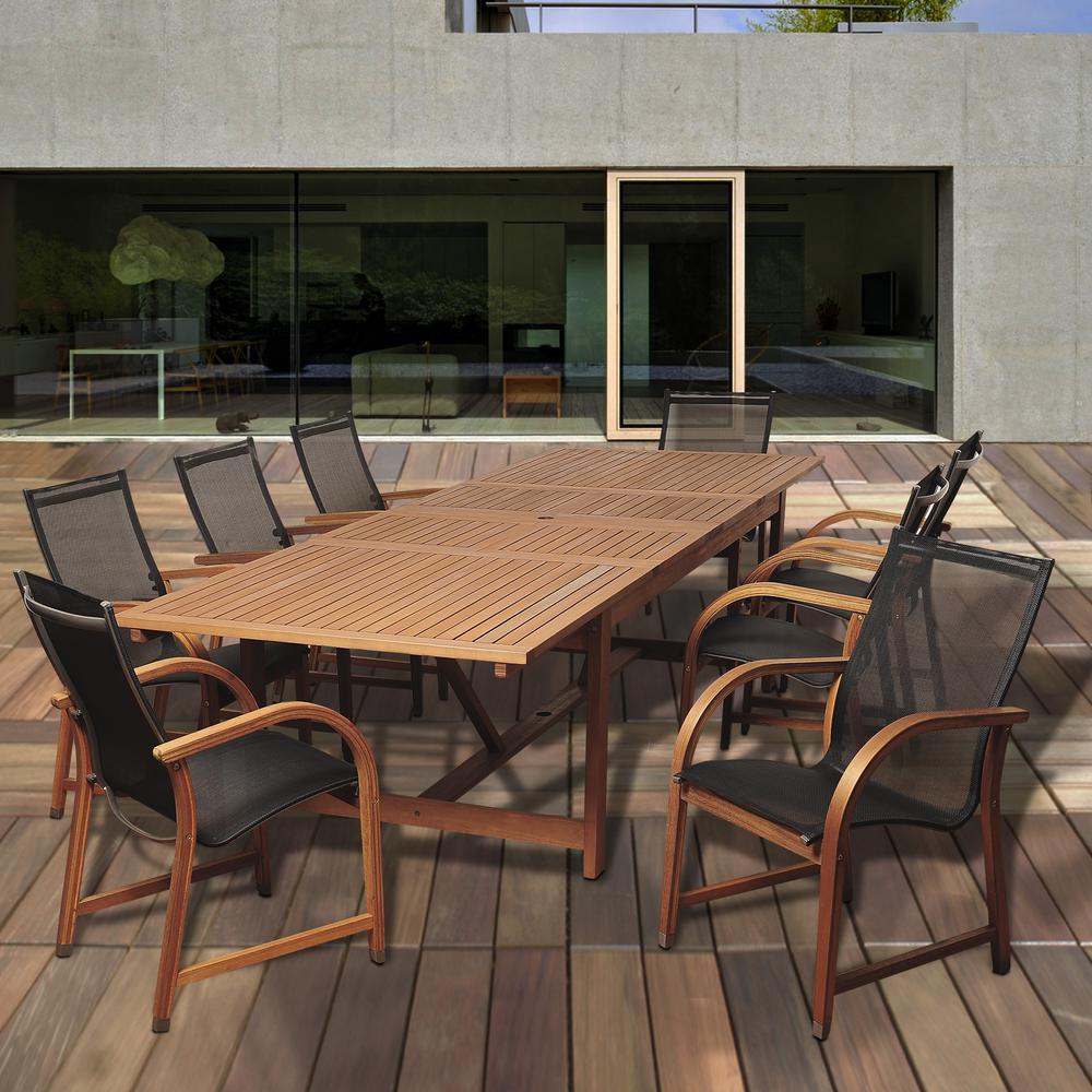 Richards Rectangular 9-Piece Eucalyptus Extendable Patio Dining Set